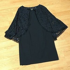 Adrianna Papell Navy Lace Cape Dress, sz 16, NWOT